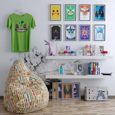 懒人沙发, 宠物小精灵, 玩具, 手办, 衣服, 书籍, 挂画, 现代儿童房懒人沙发宠物小精灵玩具手办衣服书籍挂画组合