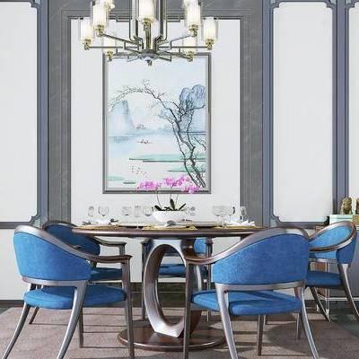 新中式餐椅组合, 多头吊灯, 新中式装饰画, 新中式碗碟, 新中式