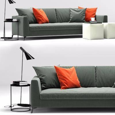 多人沙发, 边几, 茶几, 台灯, 摆件, 现代