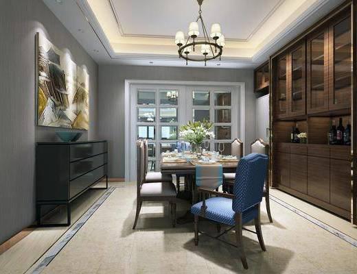 边柜, 吊灯, 沙发组合, 茶几, 电视柜, 装饰画