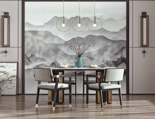 背景墙, 餐厅, 餐桌, 桌椅组合, 吊灯