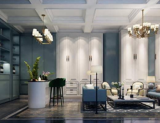 法式别墅客厅酒吧组合, 法式, 客厅, 吧台, 吊灯, 酒柜