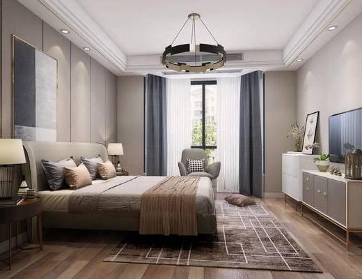 双人床, 床具组合, 单椅, 电视柜, 电视, 床头柜, 台灯, 地毯