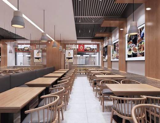 中式餐厅, 餐桌, 单椅, 吊灯