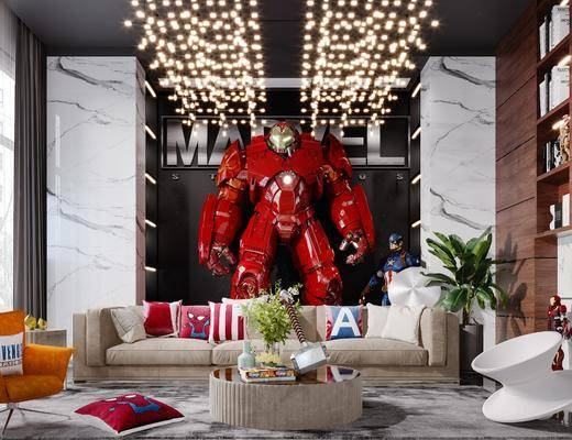 沙发组合, 茶几, 吊灯, 植物, 摆件组合, 抱枕