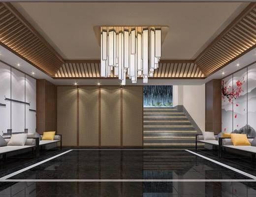 餐饮, 酒楼, 酒店, 门厅, 入口, 入户, 新中式, 中式