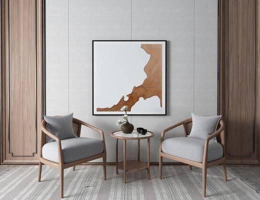 单椅, 休闲椅, 边几, 装饰画, 摆件组合