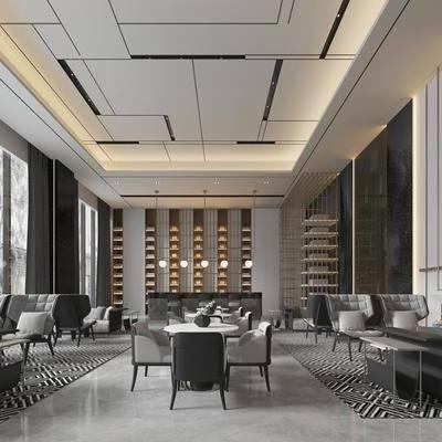 新中式大堂, 新中式大厅, 桌椅组合, 沙发茶几, 置物架, 吊灯, 大堂, 大厅