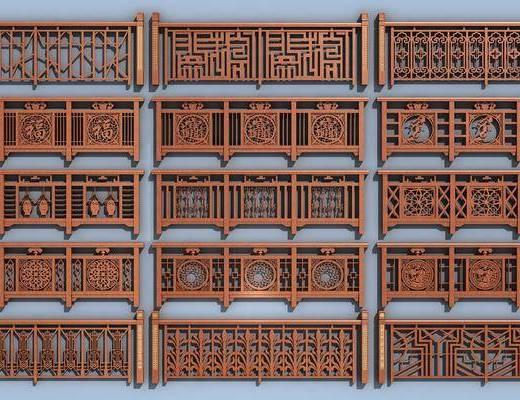实木栏杆, 栏杆护栏, 新中式