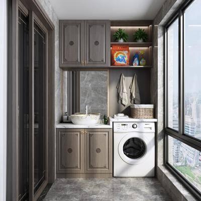阳台, 露台, 新中式阳台, 洗衣机, 摆件组合