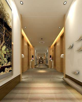 走廊过道, 墙饰, 装饰画, 挂画, 雕塑, 摆件, 吊灯, 装饰柜, 边柜, 新中式