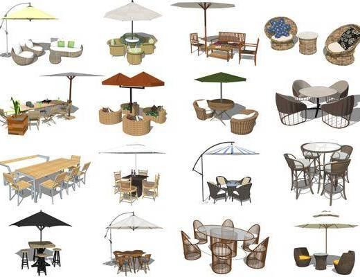 现代户外休闲桌椅, 户外餐桌椅