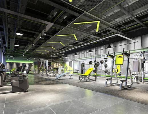健身房, 健身室, 健身器材, 吊燈, 工業風