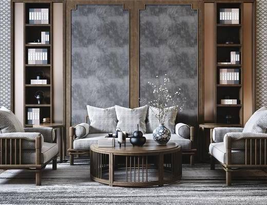 沙发组合, 茶几, 单椅, 背景墙, 摆件组合