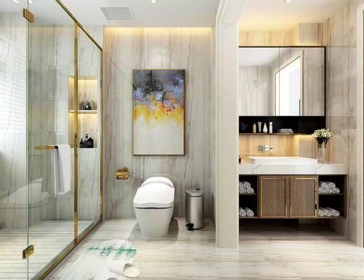 卫生间, 现代, 洗手台, 镜子, 便器, 淋浴间