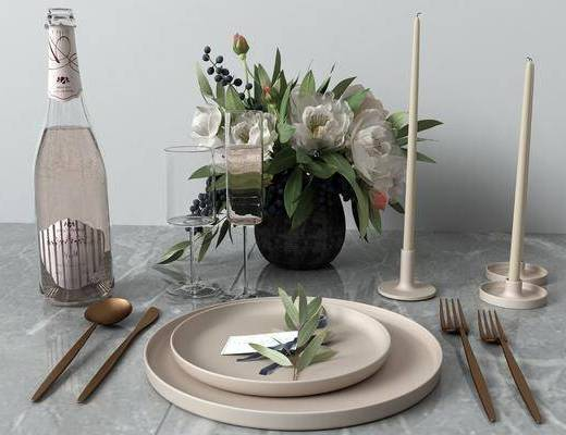 餐具组合, 花瓶花卉, 北欧