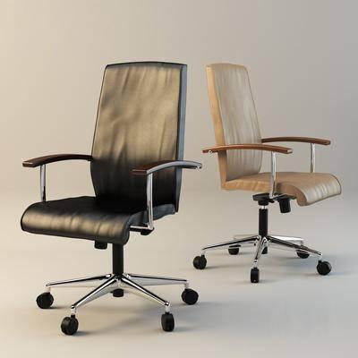 单人椅, 轮滑椅, 皮革办公椅, 现代