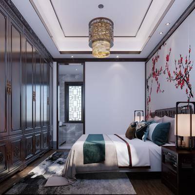 中式卧室, 双人床, 床头柜, 衣柜