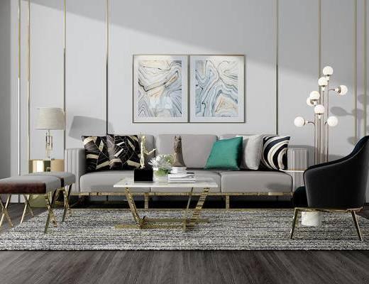 沙发茶几组合, 沙发组合, 多人沙发, 现代沙发, 茶几, 单椅, 后现代