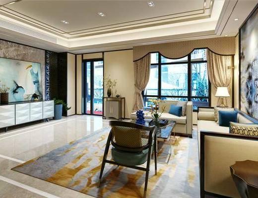 新中式客厅, 客厅, 中式沙发, 沙发组合, 沙发茶几组合, 电视柜