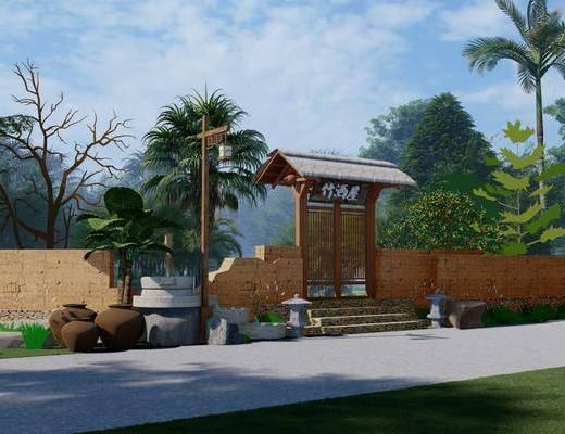 中式乡村景墙围栏杆, 小院景观文化墙