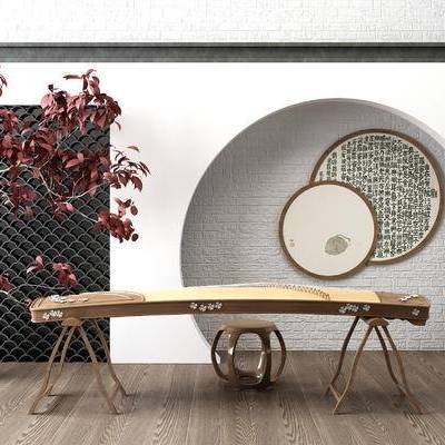圆形挂画, 盆栽, 植物, 瓦片, 实木圆凳, 古筝, 新中式