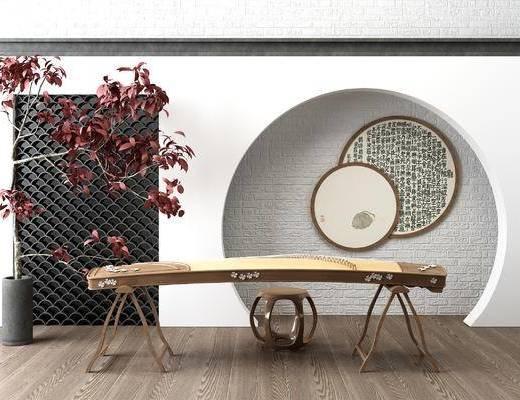 新中式古筝, 圆形挂画, 盆栽, 植物, 瓦片, 实木圆凳