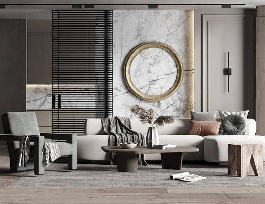 沙发组合, 墙饰, 单椅, 茶几, 摆件组合, 壁灯