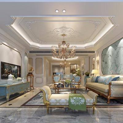 客厅, 多人沙发, 躺椅, 电视柜, 边柜, 边几, 壁灯, 台灯, 盆栽, 吊灯, 茶几, 摆件, 装饰品, 陈设品, 法式