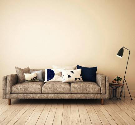 多人沙发, 边几, 落地灯, 北欧简约