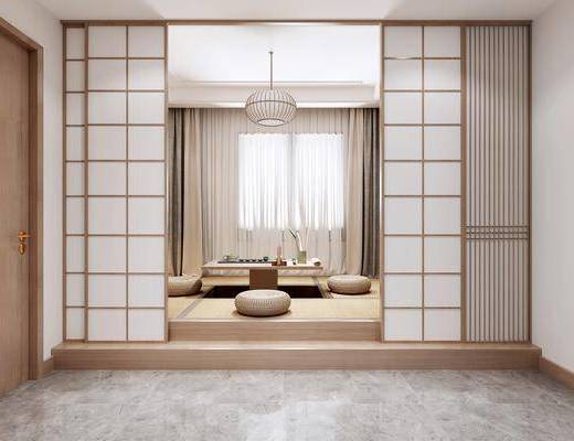 茶室, 榻榻米, 吊灯, 窗帘