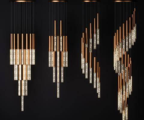 吊燈組合, 水晶吊燈, 金屬吊燈, 現代