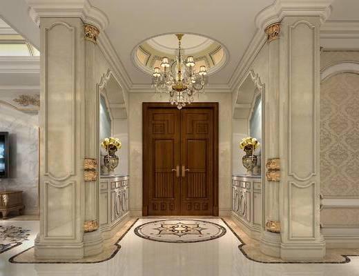 大门, 玄关柜, 电视柜, 吊灯, 花瓶, 柱子, 饰品, 摆件