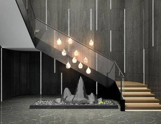 楼梯间, 吊灯, 景观小品