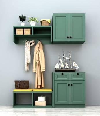 地中海鞋柜, 鞋柜组合, 组合鞋柜, 门口鞋柜, 鞋柜展柜