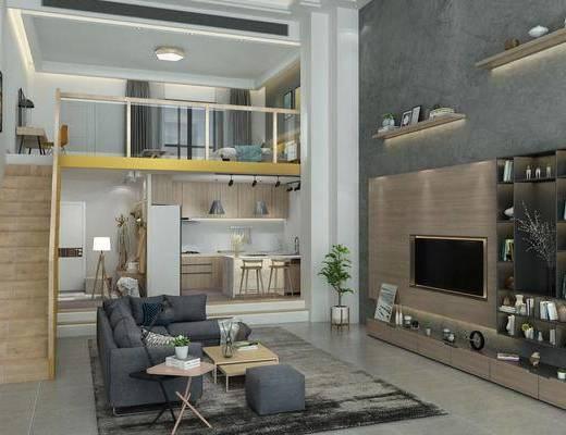 公寓, 客厅, 沙发组合, 沙发茶几组合, 床具组合, 衣架, 服饰, 厨房, 橱柜组合, 洗手台组合, 摆件组合, 书柜, 装饰柜, 吧台椅组合, 现代