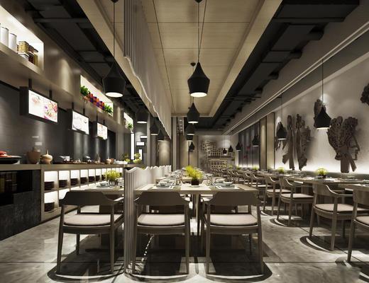 餐厅, 餐桌椅, 桌椅组合, 吊灯, 现代餐厅, 餐具