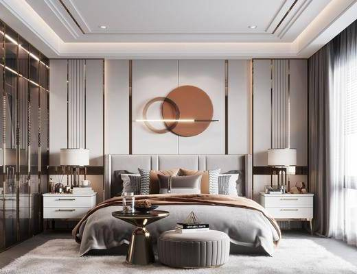 现代, 卧室, 双人床, 床头柜, 衣柜, 墙饰