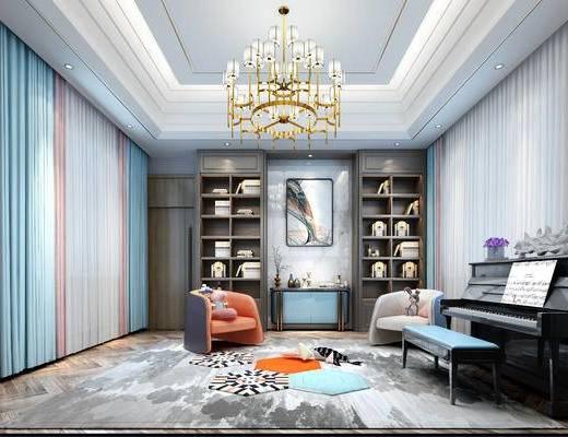 吊灯, 端景台, 装饰画, 钢琴, 单椅, 墙饰, 窗帘