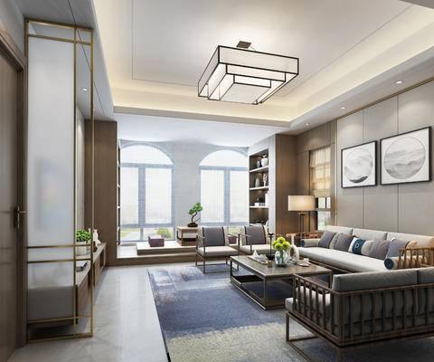 中式客厅, 中式沙发, 茶几, 装饰柜, 榻榻米, 中式吊灯, 客厅