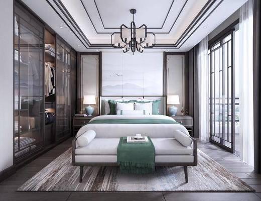 卧室, 双人床, 床尾凳, 床头柜, 台灯, 吊灯, 衣柜, 服饰, 装饰柜, 新中式