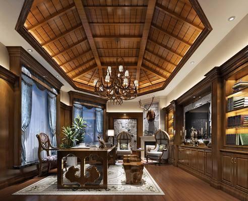 书房, 美式书房, 桌椅组合, 书柜, 书籍