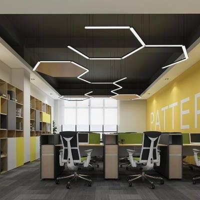 现代, 办公室, 办公区, 办公桌, 办公椅, 装饰柜, 置物柜, 书柜, 陈设品
