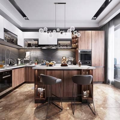 現代廚房, 廚房, 櫥柜, 吧臺