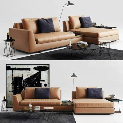 多人沙发, 皮革沙发, 装饰画, 挂画, 茶几, 落地灯, 边几, 摆件, 装饰品, 陈设品, 现代