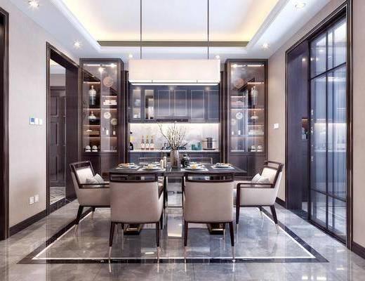 新中式餐厅, 餐厅, 餐桌椅, 厨房