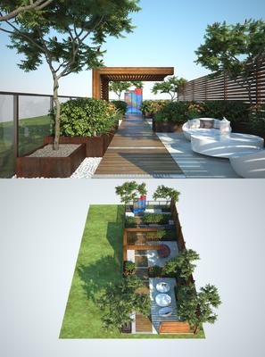 阳台露台, 茶几, 单人椅, 绿植, 树木, 植物, 屏风, 现代