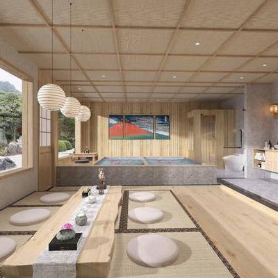 ?#39057;?#23458;房, 日式?#39057;?#23458;房, 茶室, 桌椅组合, 浴池