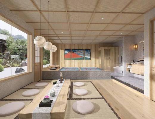 酒店客房, 日式酒店客房, 茶室, 桌椅组合, 浴池