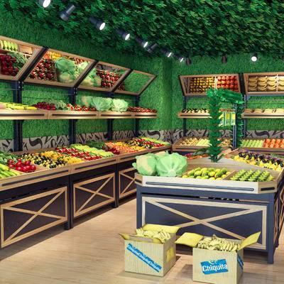 超市, 水果店, 水果, 货架, 现代